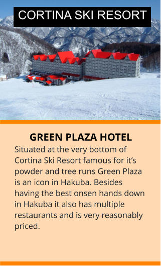 GREEN PLAZA HOTEL Situated at the very bottom of Cortina Ski Resort famous for it's powder and tree runs Green Plaza is an icon in Hakuba. Besides having the best onsen hands down in Hakuba it also has multiple restaurants and is very reasonably priced. CORTINA SKI RESORT