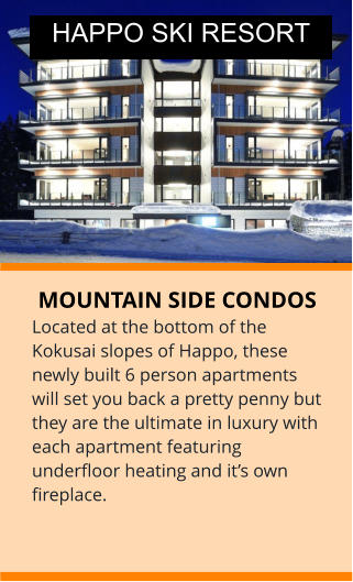 MOUNTAIN SIDE CONDOS Located at the bottom of the Kokusai slopes of Happo, these newly built 6 person apartments will set you back a pretty penny but they are the ultimate in luxury with each apartment featuring underfloor heating and it's own fireplace. HAPPO SKI RESORT