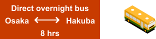 Direct overnight bus Osaka		  Hakuba   8 hrs